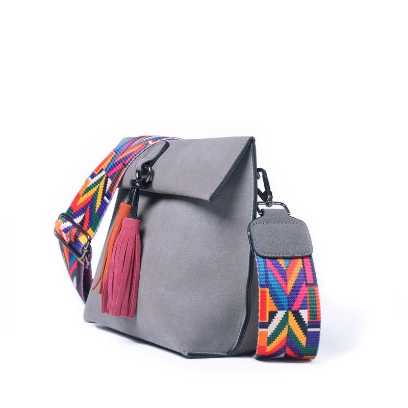 HJKL Women Crossbody Shoulder Bag PU Leather Designer  Handbags Girls With Tassel Colorful Strap Female Small brown purses