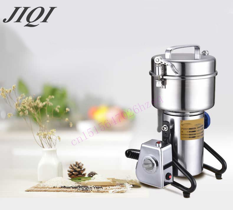JIQI 500g stainless steel grinder herbs Household grain mill small powder machine ultrafine grinding machine купить недорого в Москве