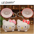 LEDIARY Pink/Red LED Rechargeable Desk Lamp Hello Kitty Flexible Length Night Light 220V Reading Lamp for Student Eye Protective