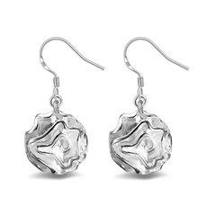 Trendy Rose FLOWER Dangle Earring for Women Classic Silvery color ear Jewelry Drop Shipping
