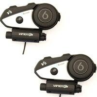 2017 Vimoto Brand 2pcs V6 Pro Motorcycle Helmet Bluetooth Headset Intercom Wireless Intercomunicador BT Interphone