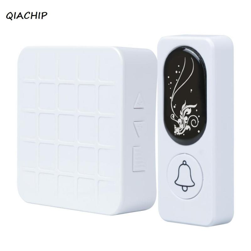QIACHIP 433Mhz Door Bell with 52 Chimes Receiver Waterproof Wireless Doorbell Cordless Smart Door Bell Doorbells with battery H4 door bell with 36 chimes single receiver waterproof plug in type wireless doorbell cordless smart door bells doorbells
