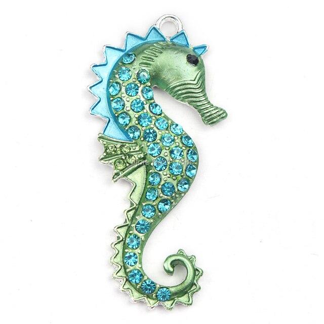 15ピースファッションシルバーメッキグリーンクリスタルラインストーンタツノオトシゴペンダントポップチャームビーズネックレス作り、カワイイラインストーンペンダント