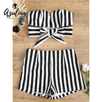 AZULINA Stripes Tied Bowknot Strapless Tube Top And Zipper High Waist Shorts Sets Women Two Pieces
