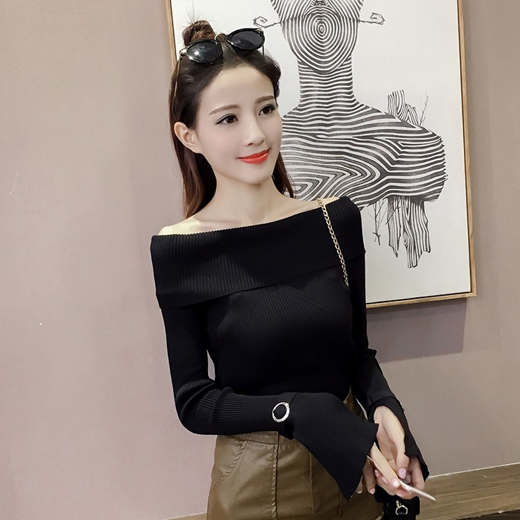 Autumn-winter-women-slim-collar-shirt-Flare-sleeved-Strapless-metal-buckle-cuff-sweater-female-sexy-knitting