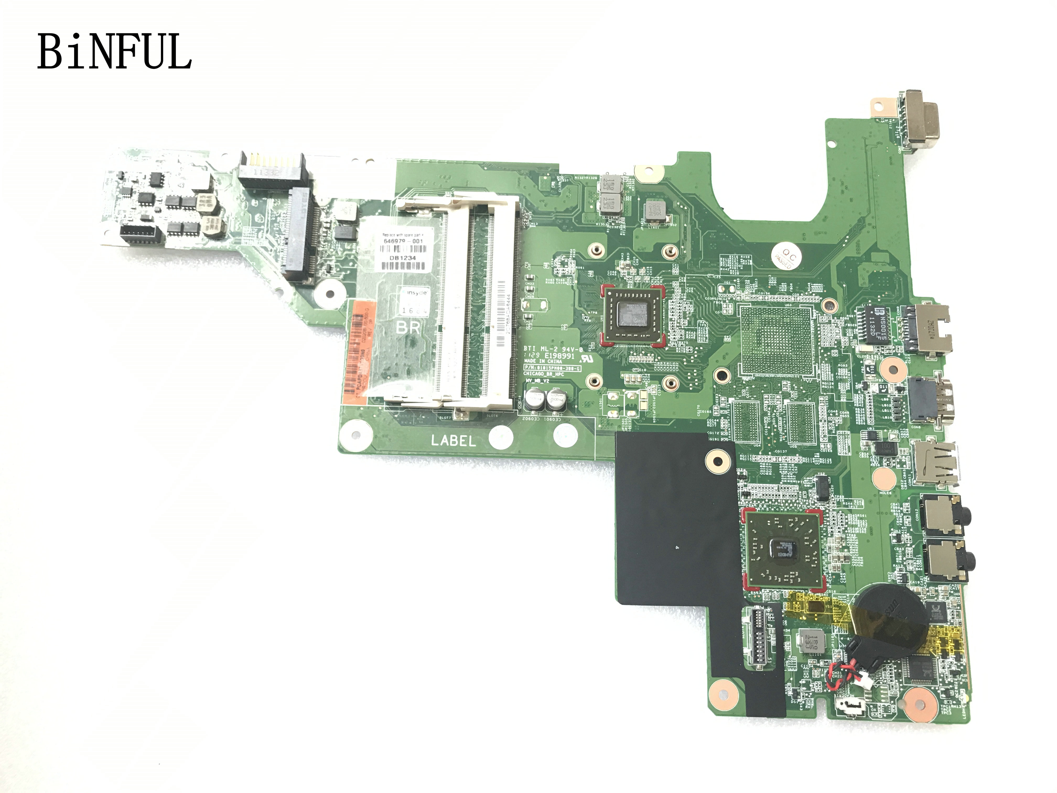 BiNFUL SUPER 646979-001 100% NEW MAINBOARD LAPTOP MOTHERBOARD FOR HP 635 435 NOTEBOOK PC WITH ONBOARD <font><b>PROCESSOR</b></font> image