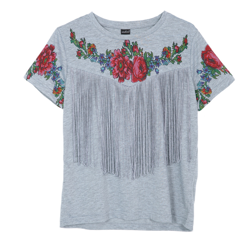 Tassel Embroidery Tshirt With Movement