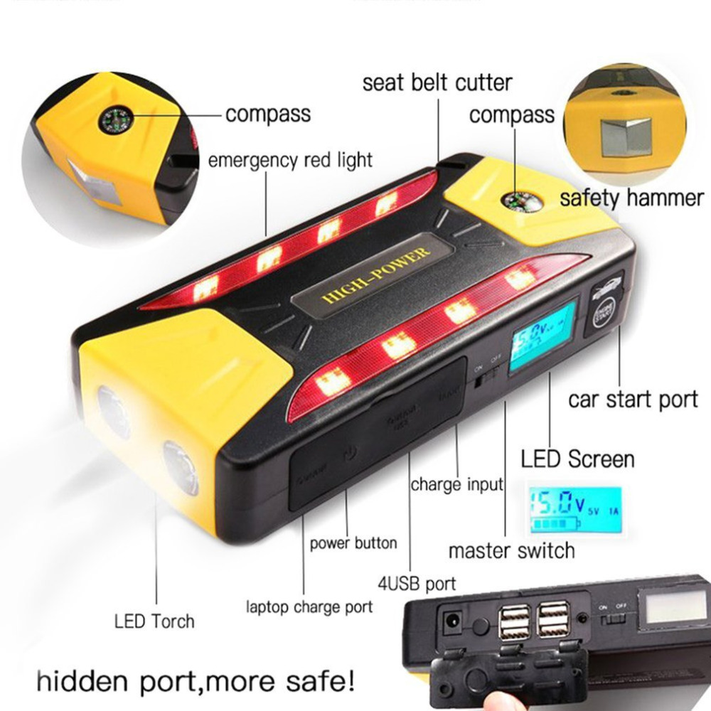 Portable 82800mAh Pack Car Jump Starter Multifunction Emergency Charger Booster Power Bank Battery 600A UK Plug цена
