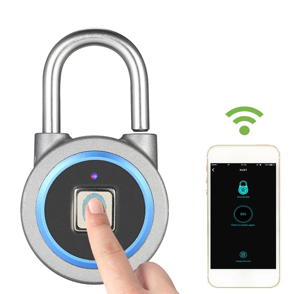 HTB1TvfHSsfpK1RjSZFOq6y6nFXao BT Smart Keyless Fingerprint Lock Waterproof APP / Fingerprint Unlock Anti-Theft Security Padlock Door Luggage Case Lock