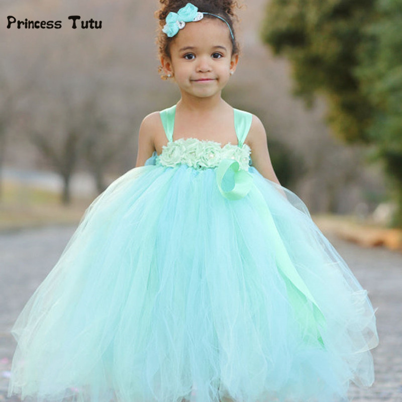 Mint Green Girls Party Tutu Dress Princess Tulle Dresses Kids Pageant Birthday Wedding Bridesmaid Flower Girl Dresses Ball Gown pink white girls tutu dress princess tulle wedding bridesmaid flower girl dress for kids birthday photo party festival dresses