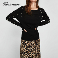 Hirsionsna Pearl Beading Tee Shirt Women 2018 Spring Long Sleeve Brand Black T Shirt Femme Casual