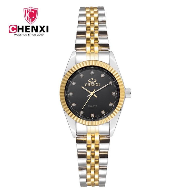 Märke CHENXI Rhinestone Kvinna Klocka Luxury Top Märke Tunt Stålband Kvarts Armbandsur Elegant Lady Klocka Vattentät