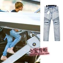 Justin bieber fashion trend street hole water wash slim jeans