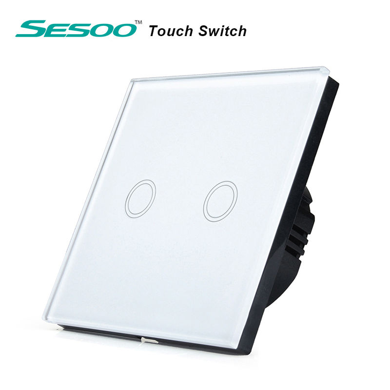 EU/UK Standard SESOO Touch Switch 2 Gang 1 Way,Crystal Glass Switch Panel,Single FireWire Touch Sensing Wall Switch eu uk standard sesoo remote control switch 3 gang 1 way crystal glass switch panel wall light touch switch led blue indicator