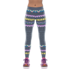 NEW KYK1073 Sexy Girl Women National Chain Striped 3D Prints High Waist Polyester Fitness Women Leggings