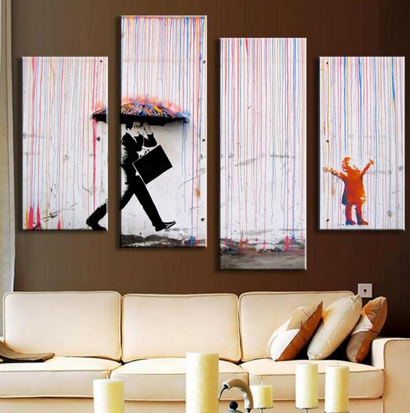 Banksy Art Colorful Rain Oil Painting Paintings For Living Room Wall Abstract Umbrella And Men
