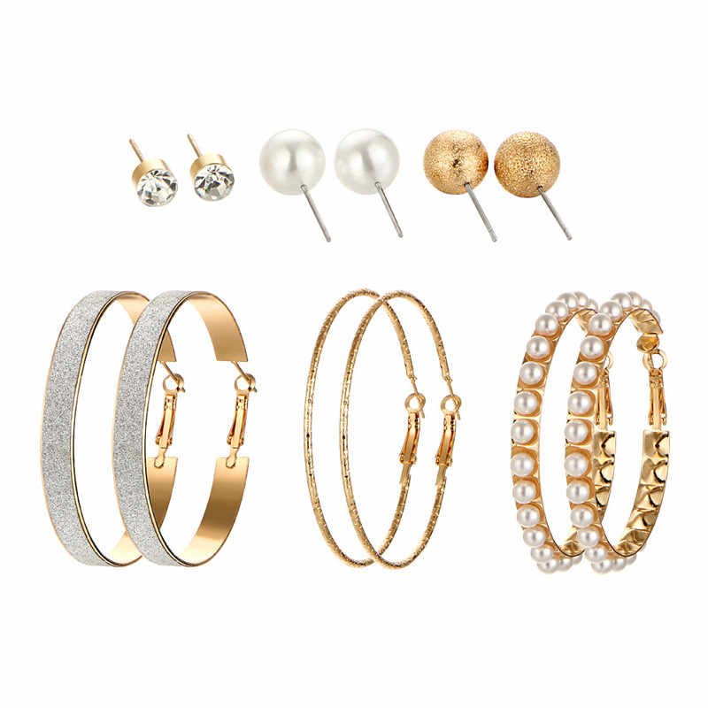 6 PAIRS/SET Gold-color Ball Simulated Pearl Stud Earrings Set For Women Vintage Ear Cuff Circle Earrings Crystal Brincos Jewelry