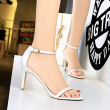 Fashion Women 8cm High Heels Sandals White/Black/Red/Nude Casual Lady Shoes Summer Classic Female Woman Footwear
