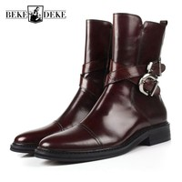 Italy Designer Mens Winter High Top Office Work Dress Shoes Buckle Biker Safety Shoes Luxury Real Leather Military Ankle Boots