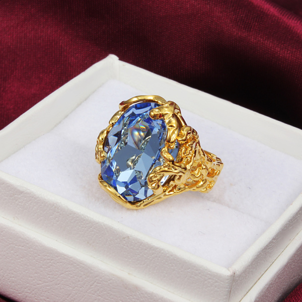 gold-color women hollow gift ring paved large blue cz zircon design high quality gift jewelry finger weeding ring jewellery
