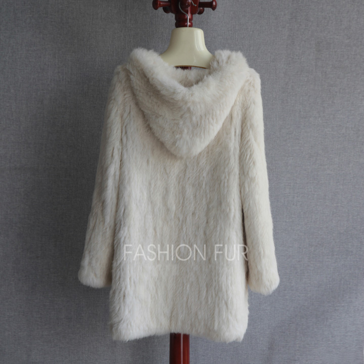 Hood Long New Fashion Women Real Rabbit Fur Knit Jacket Coat Plus Size Extra Size S-7XL YH2