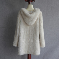 Hood Long New Fashion Women Real Rabbit Fur Knit Jacket Coat Plus size Extra Size S 7XL YH2
