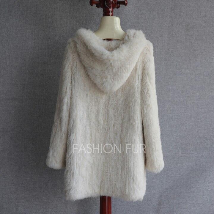Hood Long New Fashion Women Real Rabbit Fur Knit Jacket Coat Plus size Extra Size S-7XL  ...