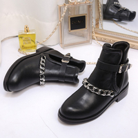 Genuine Leather Women Ankle Boots Runway Cuts Out Mental Chains Martin Boots Gladiator Outfit Flats Casual Shoes Tenis Feminino