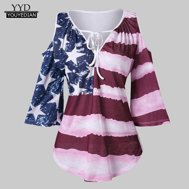f2ca49f2ab48ed Ladies Tops and Blouses 2018 Women Casual Patriotic American Flag Cold  Shoulder Top Shirt Blouse Woman