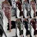 Бархатные теплые Детский Комбинезон Женщин Комбинезон 2017 Сексуальная С Плеча С Длинным Рукавом Брюки Hollow Bodycon Боди Бинты Комбинезоны