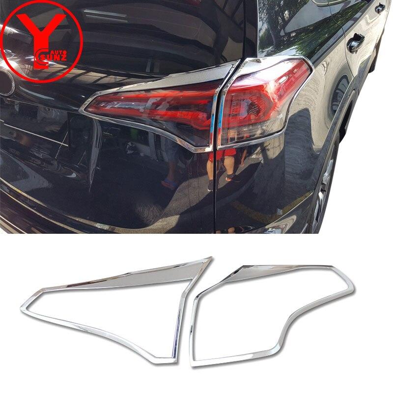 Chrome arrière couverture de lumière de queue pour toyota rav 4 2016 2017 2018 ABS accessoires de voiture style protecteur pour toyota rav4 2017 YCSUNZ