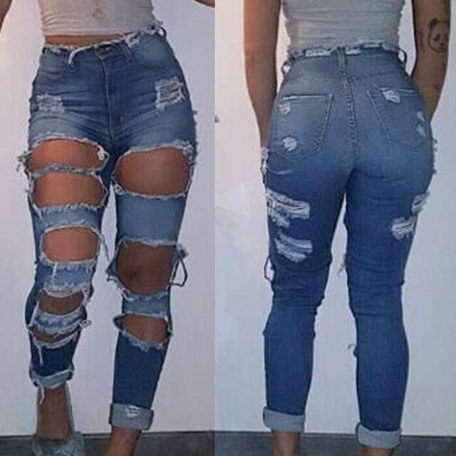 45a18ba5b Mulheres de Cintura alta Calça Skinny Apertado Longo Calça Jeans Stretch  Lápis Calças Jeans Rasgado Buraco