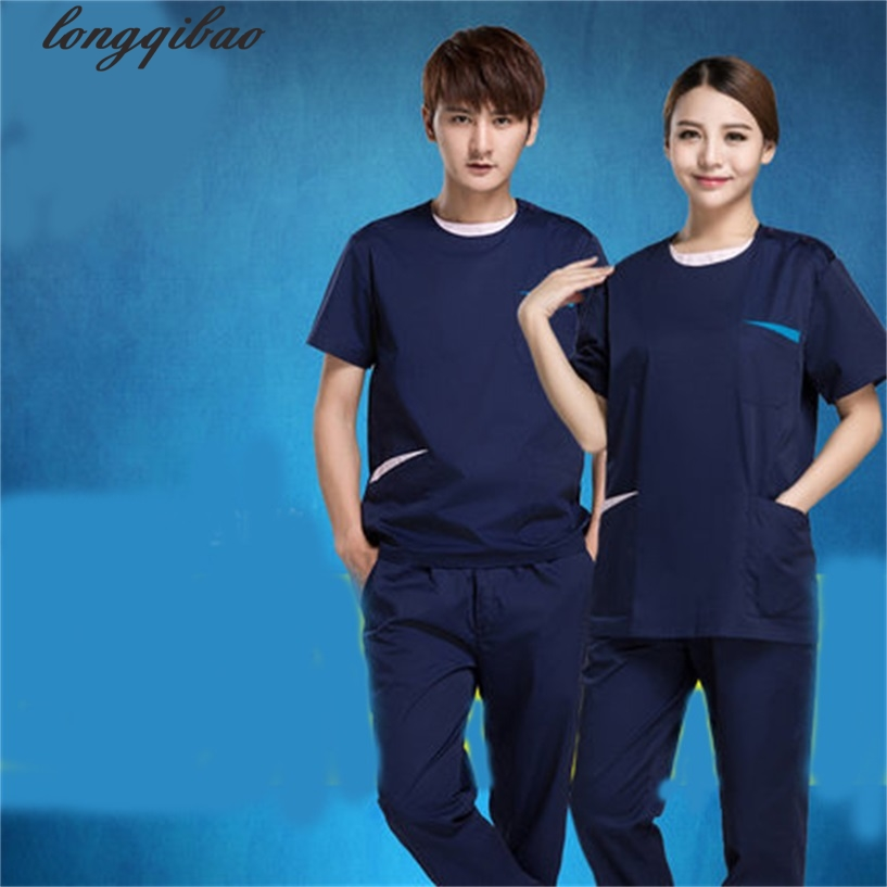 The New Men And Women With The Short-sleeved Isolation Clothing Brush Overalls Suit (coat + Trousers)TB82