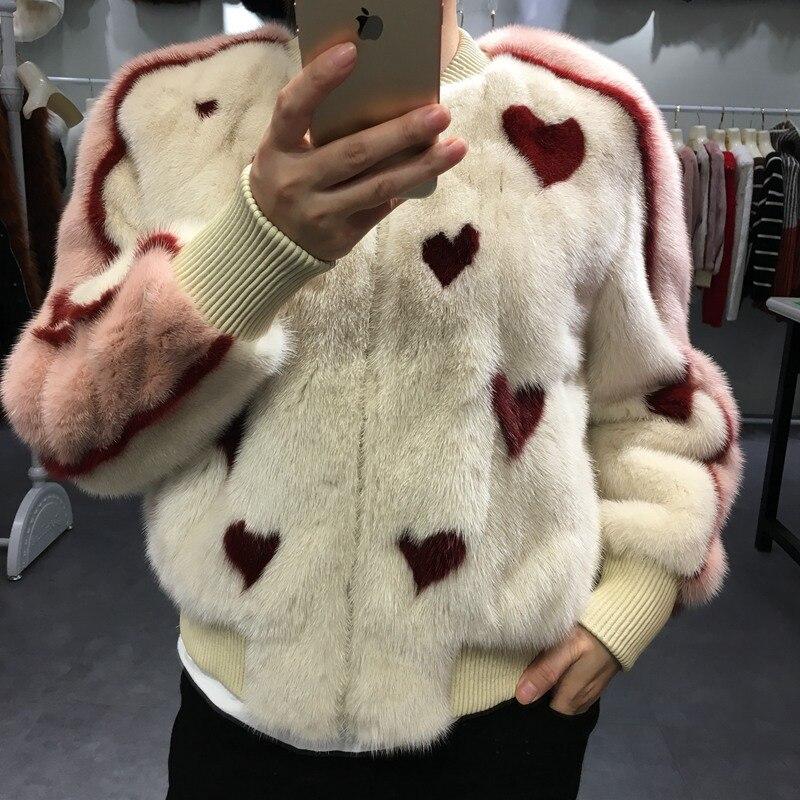 2018 new women 100% natural mink fur baseball uniform jacket genuine animal mink fur short coats fashion autumn winter outwears