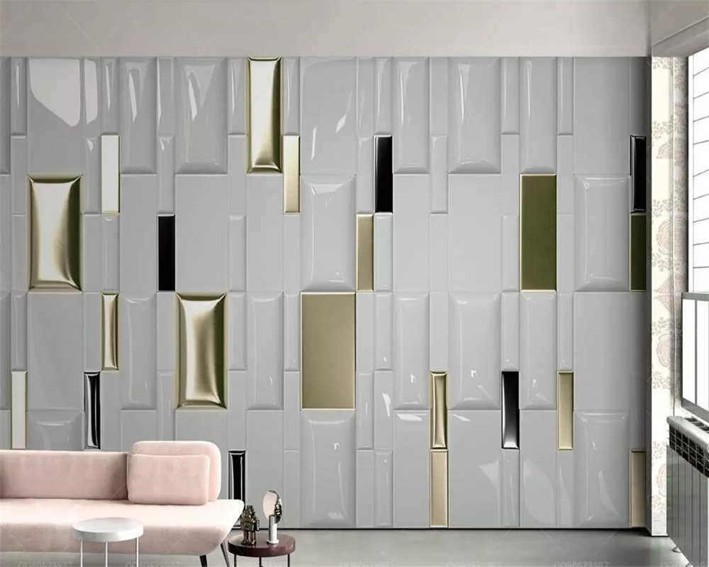beibehang Custom wallpaper 3d stereo photo mural modern fashion gold square geometry soft bag background wall paper 3d wallpaper