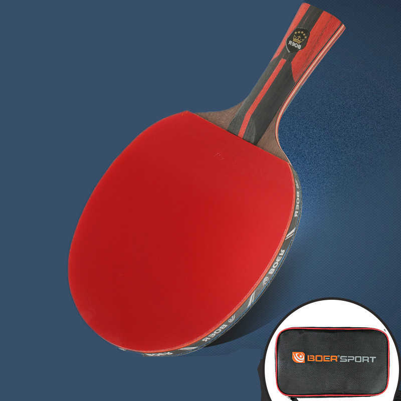 1 Piece  6-Stars Professional Carbon 7 Layers Table Tennis Bat Racket Long Short Handle Ping Pong Paddle Racket With Carry Bag