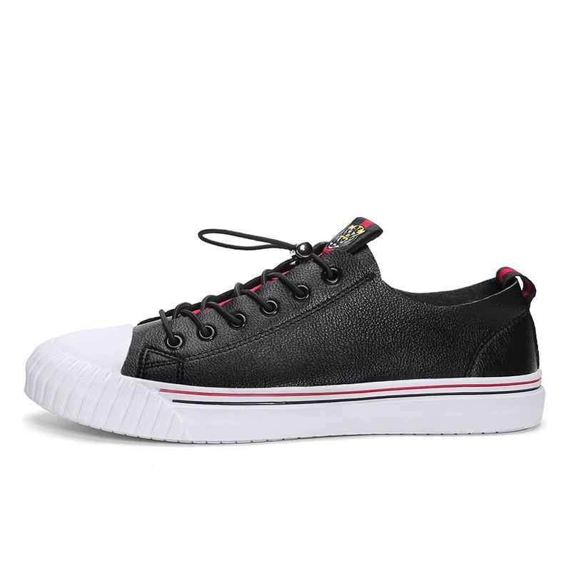 CNFIIA Mens chaussures d'entraînement chaussures en cuir Hommes chaussures décontractées Noir Blanc Qualité Designer 2019 Printemps Mâle chaussures de skate offre spéciale