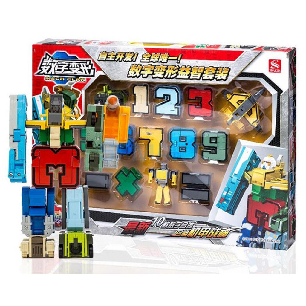 Pack of 10 Numbers Armour Team Transforming Robot Toy for Kids Boys 0-9