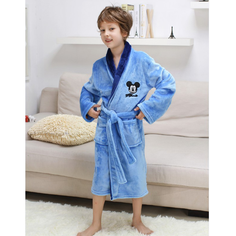 Christmas Children\'s Bathrobes Pajamas Thick Flannel Mickey Minnie ...