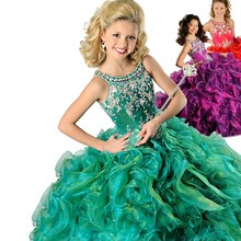 Green Spaghetti Beads Ball Gown Kids Prom Party Dresses 2016 Ritzee Girls Pageant DressesFlower Girls Dresses EM04964