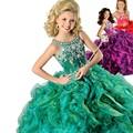 Verde Cuentas de Espagueti Bola Niños Vestido de Fiesta Vestidos de Fiesta 2017 DressesFlower Ritzee Girls Pageant Girls Vestidos EM04964