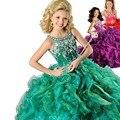 Verde Spaghetti Beads Ball Vestido Crianças Vestidos de Festa de Formatura 2017 Vestidos Concurso Ritzee Meninas DressesFlower Meninas EM04964