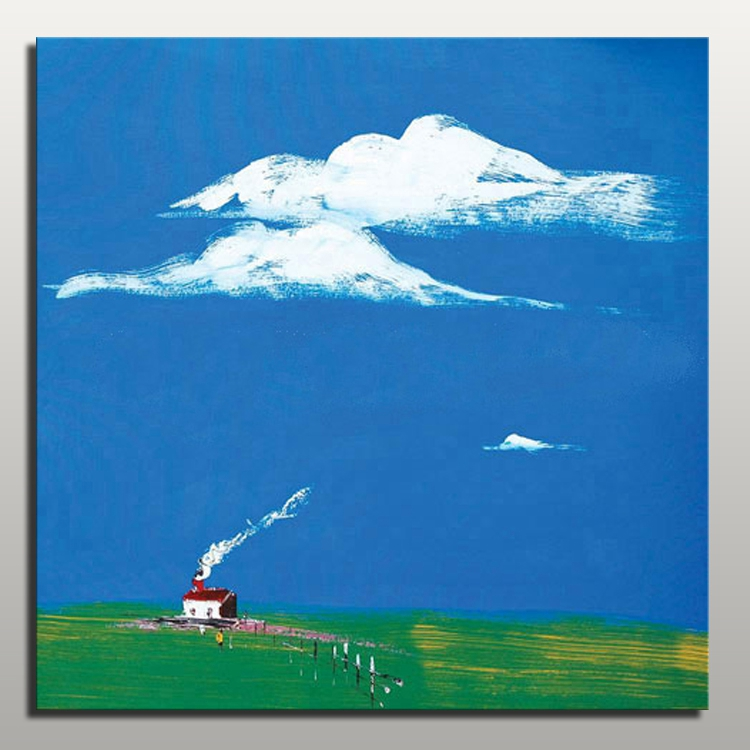 Cheap price simple wall abstract painting modern landscape for Cheap canvas paintings for sale