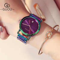 GUOU Luxury Women's Watches Stainless Steel Colorful straps Purple Women Watches Fashion Ladies watch reloj mujer zegarek damski