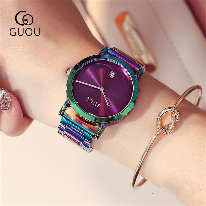 GUOU นาฬิกาผู้หญิงแฟชั่นที่มีสีสันผู้หญิงสแตนเลสดูหรูหราประณีตของผู้หญิงนาฬิกา r eloj mujer relógio feminino
