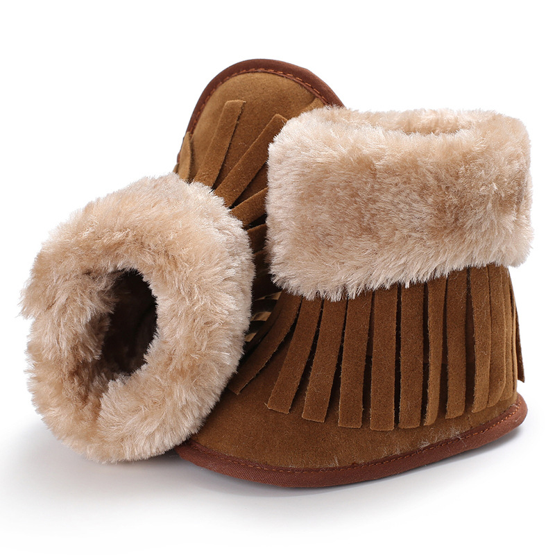 Raise Young Winter Plus Velvet Warm Baby Girl Shoes Fringe Soft Soles Toddler Girl Booti ...