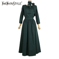 TWOTWINSTYLE 2017 Bandage Summer Dress Women Tunic Ankle Long Female Dresses Elegant Black A Line Simple