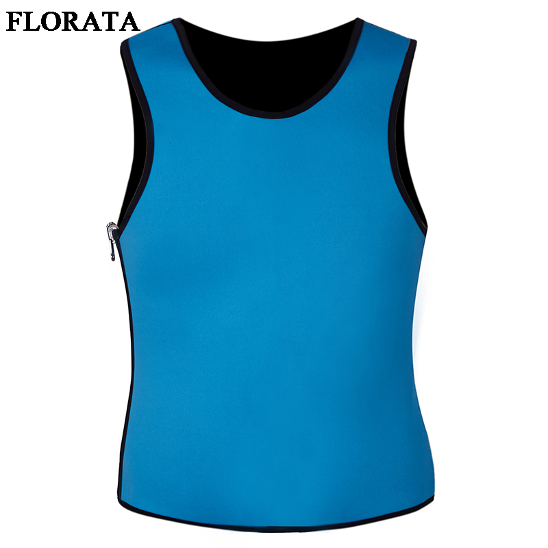 FLORATA High Quality New Slimming Male Vest <font><b>Neoprene</b></font> Bodysuit Shaper Sweat Suits <font><b>T</b></font> <font><b>Shirt</b></font> Slim Corsets Shaper Zipper image