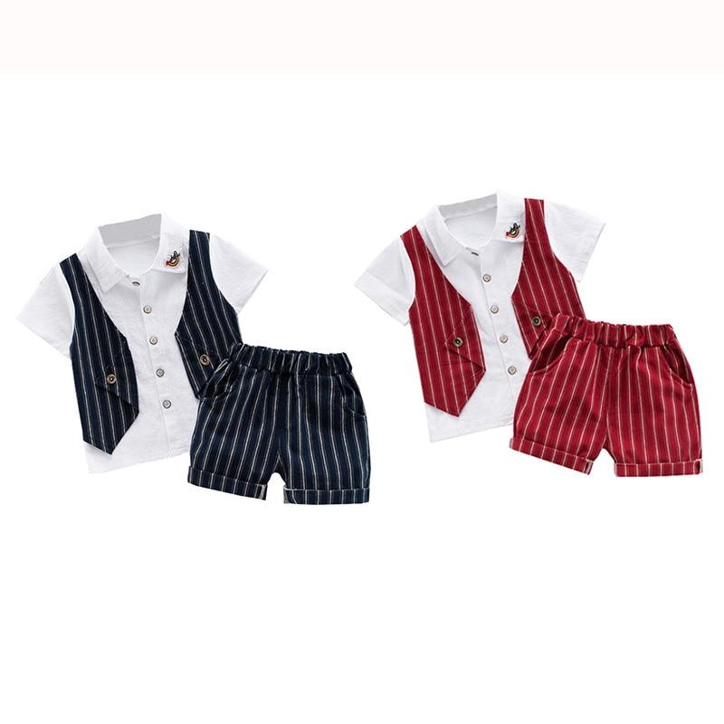 Baby Jungen Kleidung Sommer Anzüge Gefälschte Weste Kurzarm T-shirt + Streifen Shorts Vintage Wenig Herren 2 stücke Sets