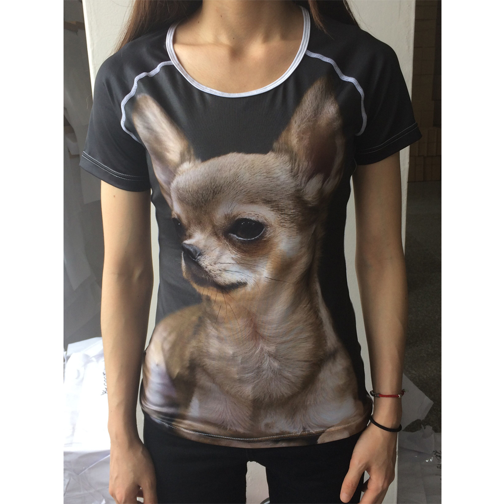 FORUDESIGNS Brand Designer Wome T Shirt Funny 3D Dog Yorkshire Terrier Printed Girl Tshirts Fashion O Neck Short Sleeve Tops Tee in T Shirts from Women 39 s Clothing